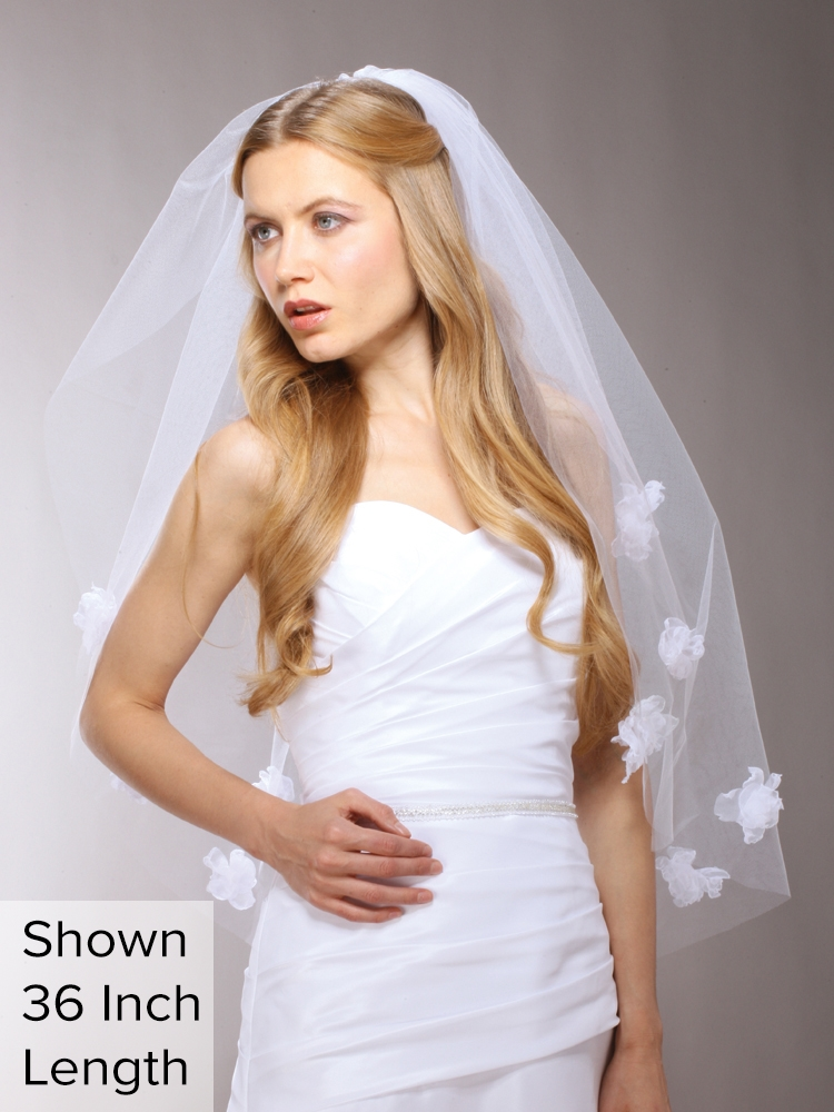 "Handmade 25"" Shoulder Length Designer Wedding Veil with White Organza Flowersl<br>3927V-W-25"