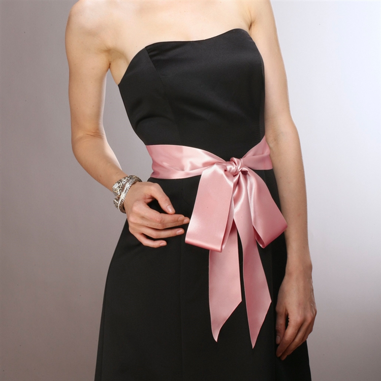 Blush Color Double Sided French Satin Ribbon Sash<br>3928SH-BLS