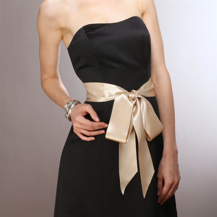 Champagne Double Sided  French Satin Ribbon Sash<br>3928SH-CH