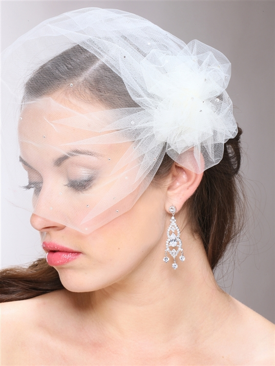 White Tulle Birdcage Veil with Side Pouf & Swarovski Crystals<br>3931V-W