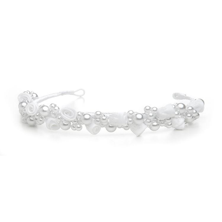 Child's White/Silver  Floral Headband or Tiara<br>3938H-W-S