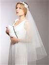 Couture Asymmetrical Hip Length Veil with White Lace Headband & Blusher<br>3939V-W
