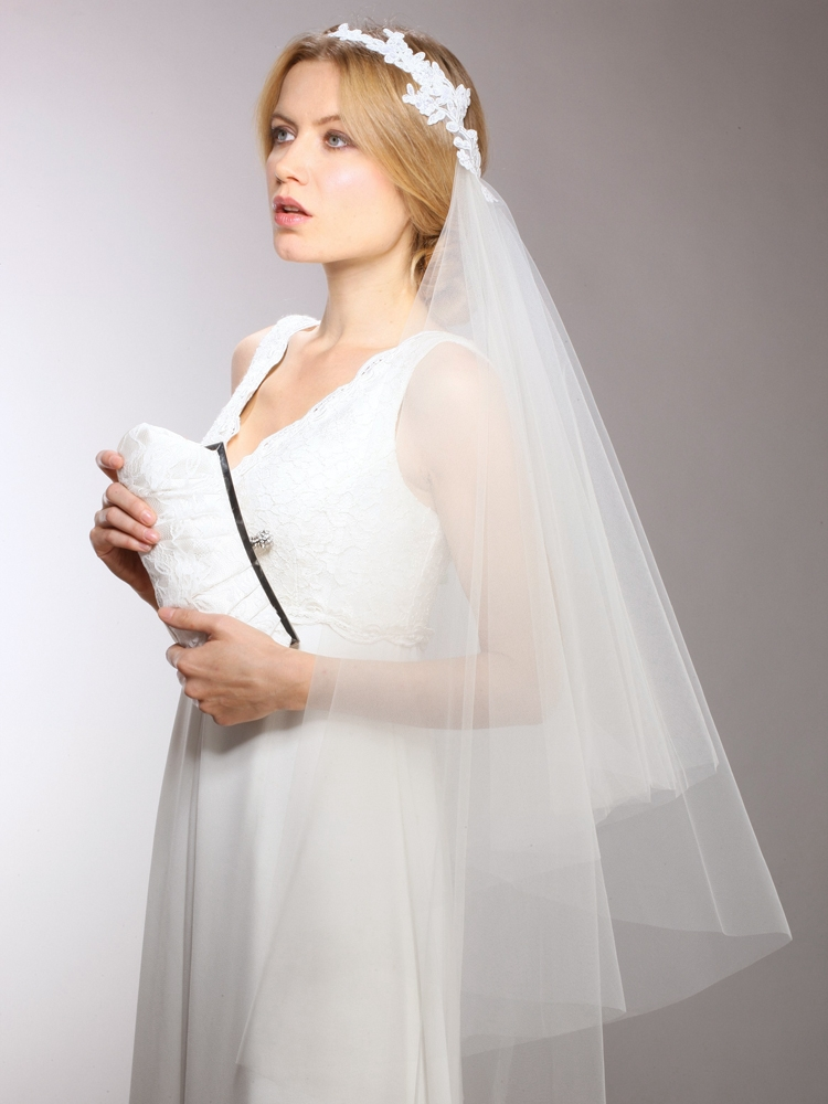 Couture Cascading  1-Sided Bridal Veil with White Lace Headpiece Headband<br>3939V-W