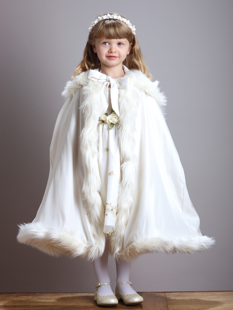 Children's Ivory Hooded Satin  Cloak with Faux Fur Trim<br>3940CL-I