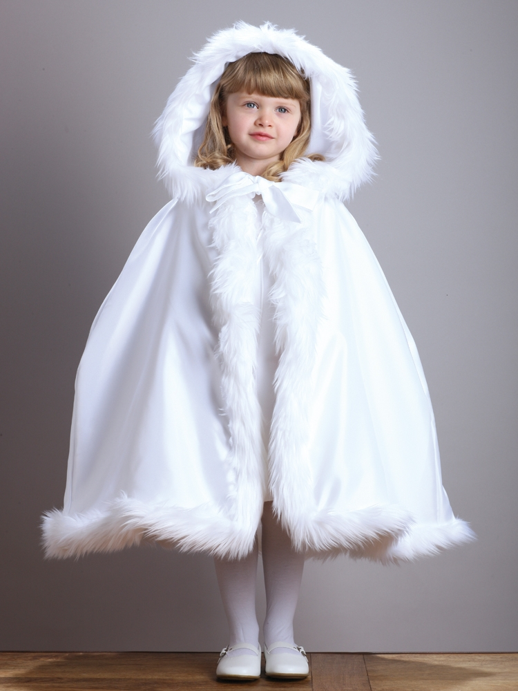 Hooded Children's White Satin Wedding Cloak with Faux Fur Trim<br>3940CL-W
