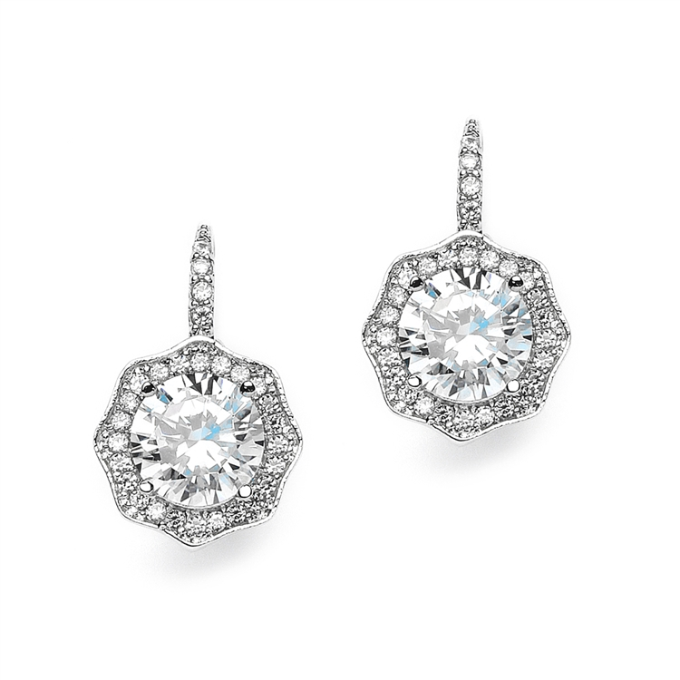 3 Ct Cubic Zirconia Vintage Hexagon Drop Earrings<br>3985E