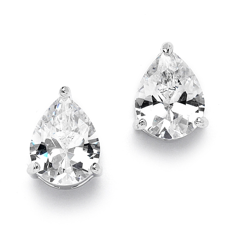 2 00 Ct Cubic Zirconia Pear Shape Stud Earrings For Weddings Or Bridesmaids Br