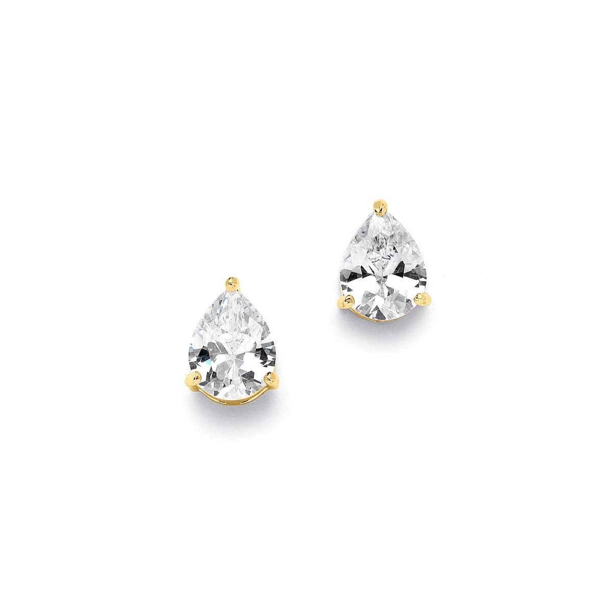 2.00 Ct. Cubic Zirconia Pear Shape Stud Gold Earrings for Weddings or Bridesmaids<br>3989E-G
