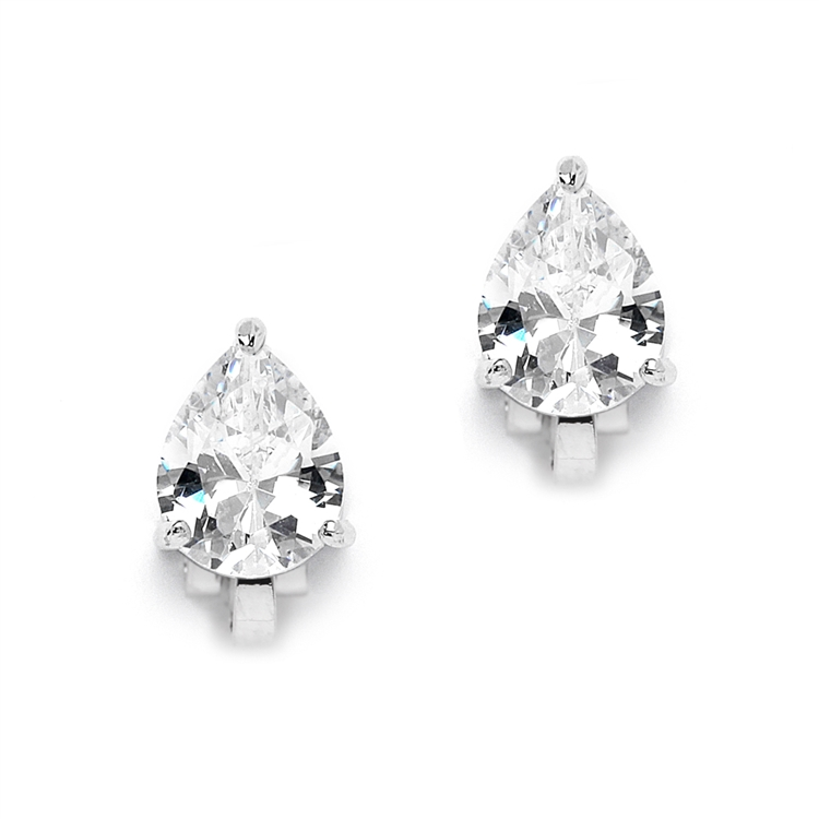2 00 Ct Cubic Zirconia Pear Shape Silver Rhodium Clip On Earrings For Weddings Or
