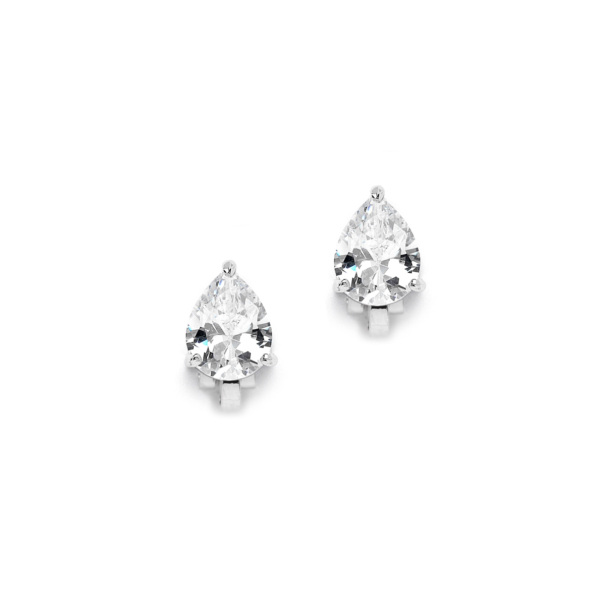 2.00 Ct. Cubic Zirconia Pear Shape Silver Rhodium Clip-On Earrings for Weddings or Bridesmaids<br>3989EC-S