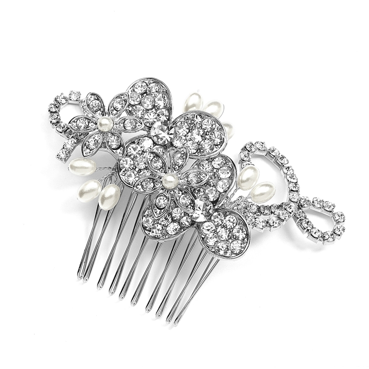 Antique Floral Bridal Comb with Freshwater Pearl Sprays & Graceful Rhinestone Vines<br>4004HC