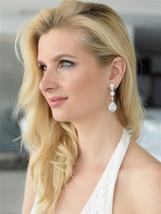 Best-Selling Pear-shaped Drop Bridal Earrings with Pave CZ<br>400E-CR