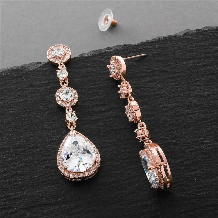 Best-Selling Rose Gold Pear-Shaped Drop Bridal Earrings with Pave CZ<br>400E-RG