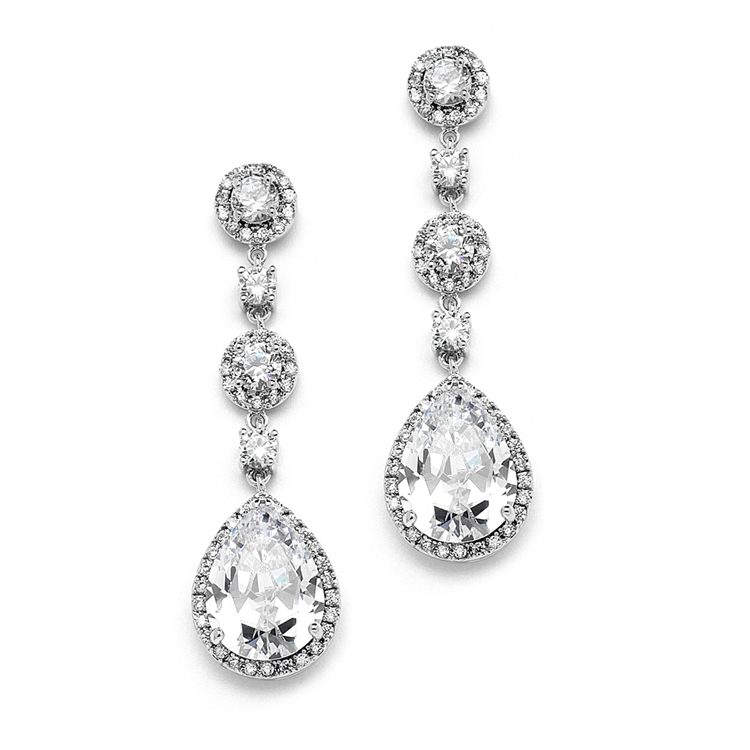 Best-Selling Clip-On Pear-shaped Drop Bridal Earrings with Pave CZ<br>400EC-CR
