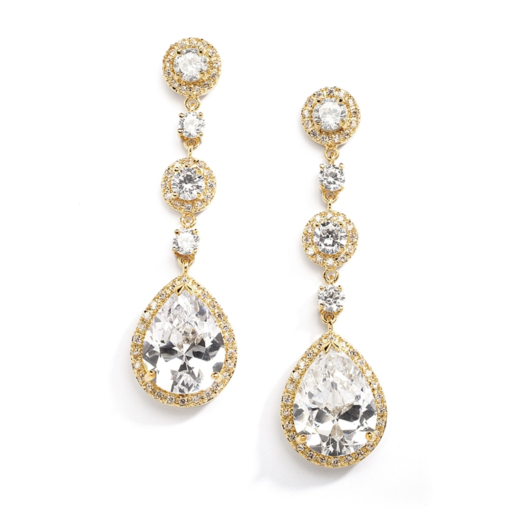 Best-Selling Pear-Shaped Drop Bridal Earrings with Gold Pave CZ - Clip On<br>400EC-G