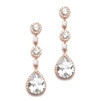Best-Selling Rose Gold Bridal Earrings with Pear-Shaped CZ Drop - Clip On<br>400EC-RG