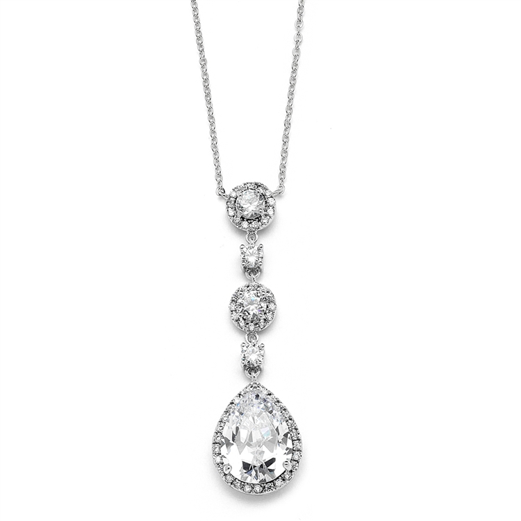 Best-Selling Pear-shaped Drop Bridal Necklace with Pave CZ<br>400N