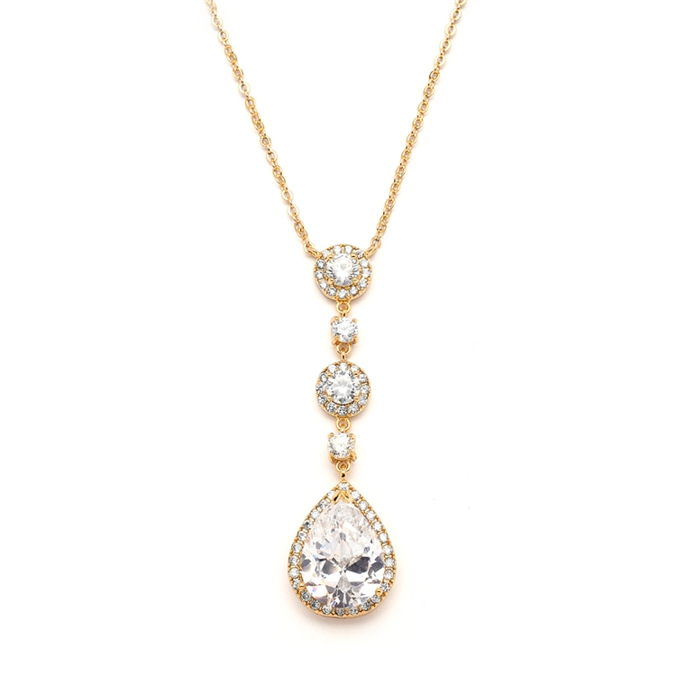 Best-Selling Gold Bridal Necklace with Pear-shaped CZ Drop<br>400N-G