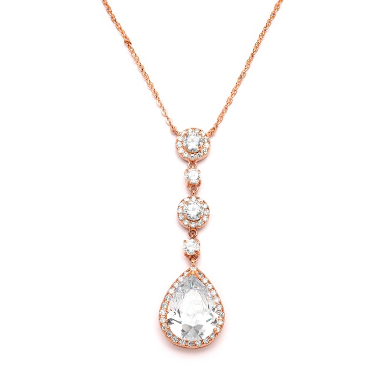 Best-Selling Rose Gold Bridal Necklace with Pear-shaped CZ Drop<br>400N-RG