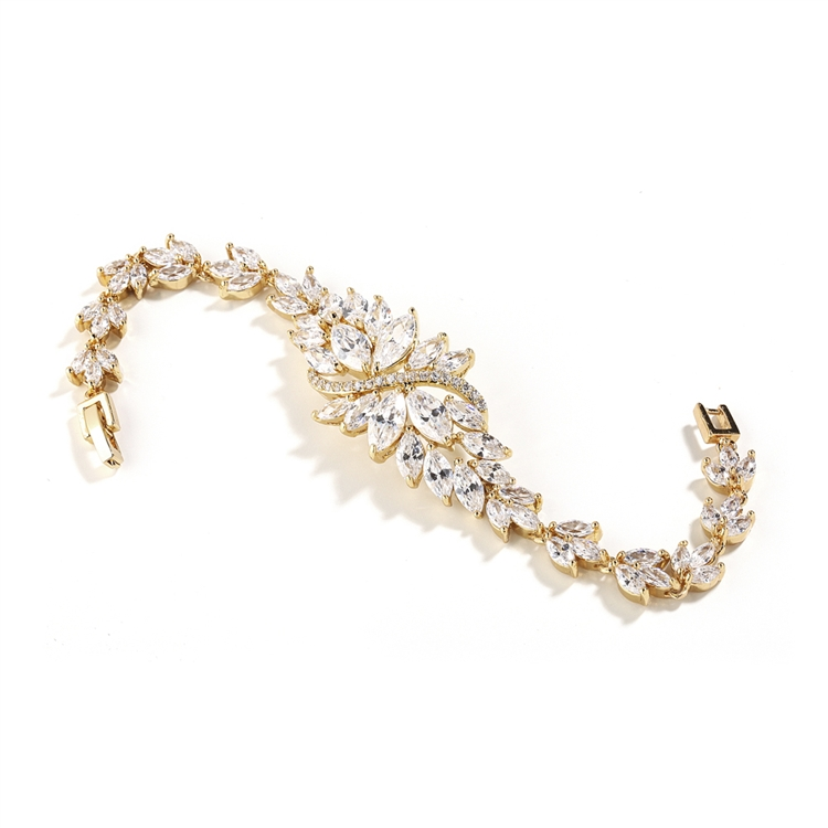 Cubic Zirconia Cluster Gold Bridal Bracelet with Dainty Marquis Stones<br>4014B-G-7