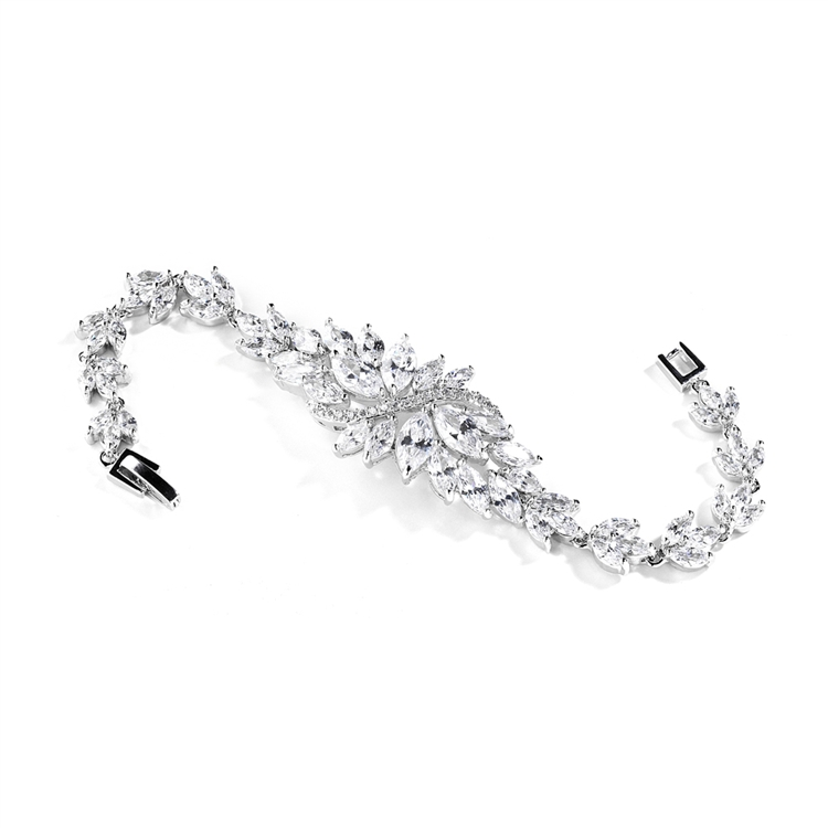 Cubic Zirconia Cluster Petite Size Bridal Bracelet with Marquis Stones<br>4014B-S-6