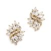 Gold Cubic Zirconia Cluster Bridal Earrings with Delicate Marquis Stones<br>4014E-G