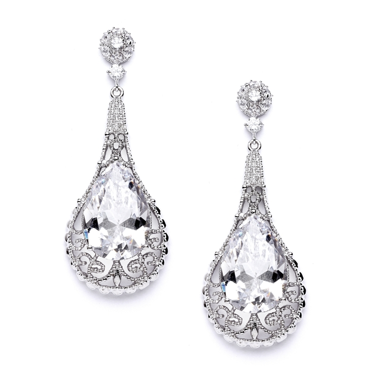 Top-Selling Bold Cubic Zirconia Pear shape Wedding Earrings<br>4017E