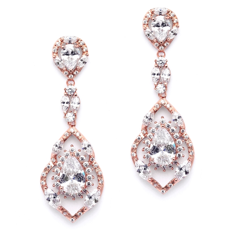 Best Selling Rose Gold Cubic Zirconia Dangle Wedding or Prom Earrings<br>4018E-RG