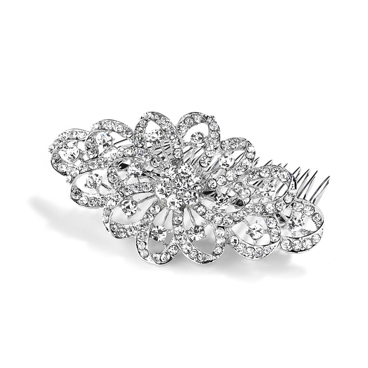 Dazzling Crystal Swirls Bridal or Prom Hair Comb<br>4026HC