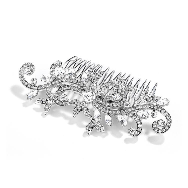 Popular Wedding or Prom Hair Comb with Pave Crystal Vines<br>4027HC-S