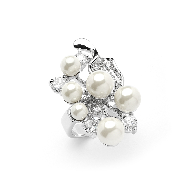 Bold Cubic Zirconia Wedding Cocktail Ring with Light Ivory Pearl Bubbles - 6 -<br>4031R-6