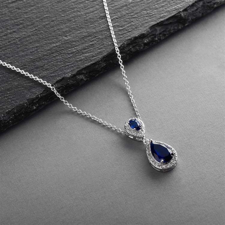 Top-Selling Sapphire Cubic Zirconia Teardrop Wedding Pendant<br>4036N-SA