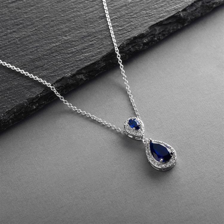 TopSelling Sapphire Cubic Zirconia Teardrop Wedding Pendant