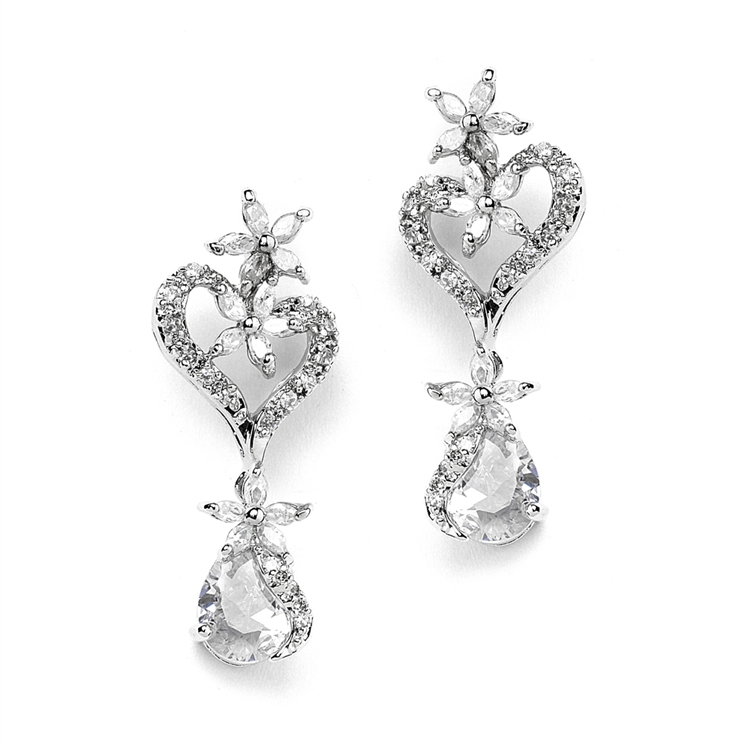 Cubic Zirconia Heart Shaped Wedding Earrings with Flowers and Pears<br>4040E