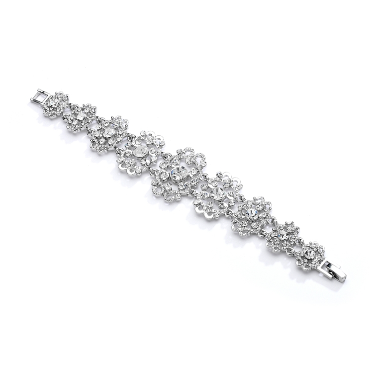 Gorgeous Crystal Wedding or Prom Bracelet with Vintage Scrolls<br>4042B