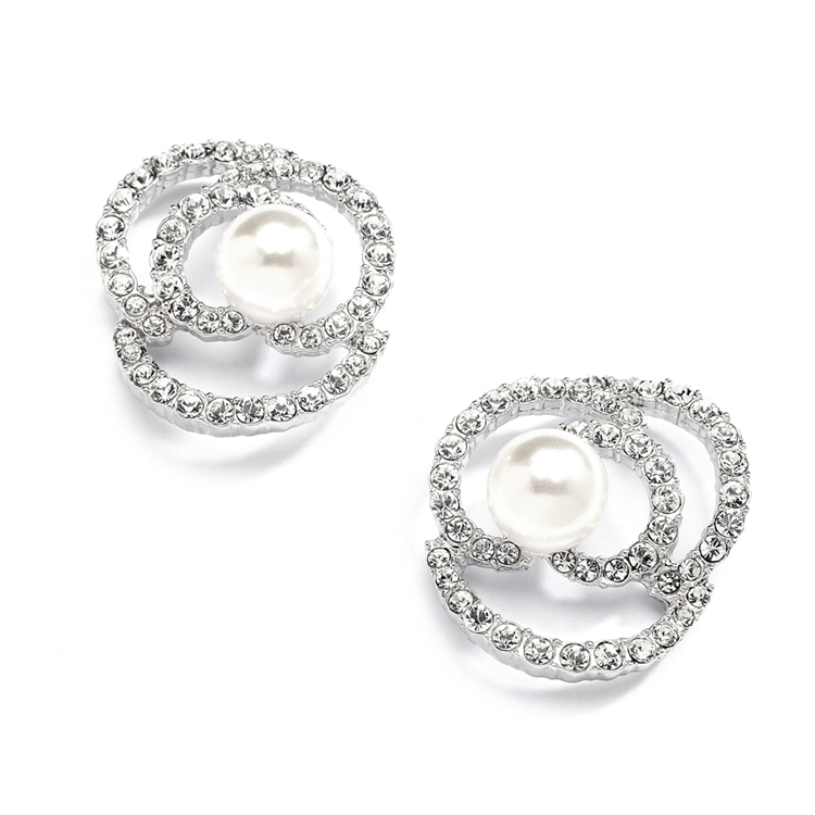 Designer Wedding Earrings with Cubic Zirconia and Pearl Flowers<br>4055E
