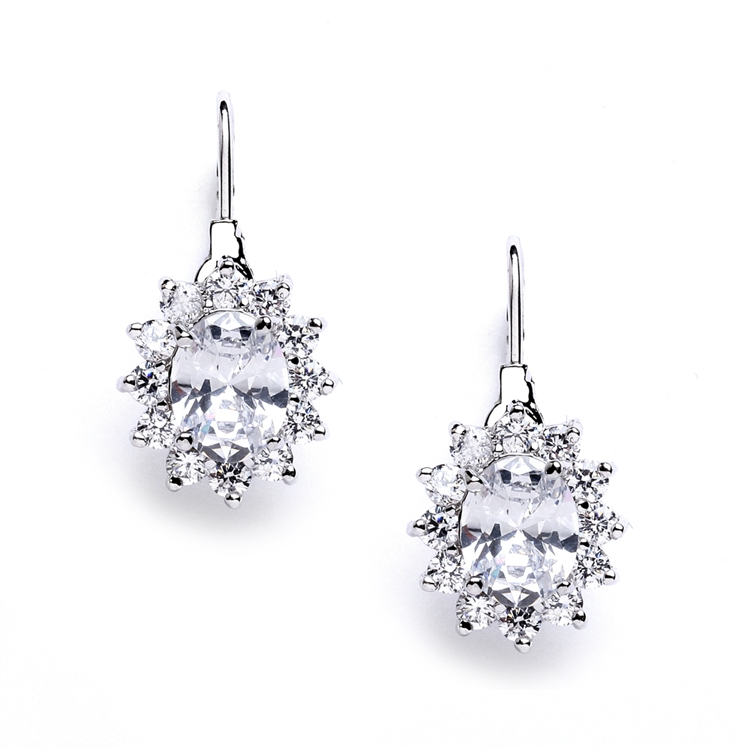 Vintage Oval Solitaire Cubic Zirconia Earrings with Lever Backs<br>4057E