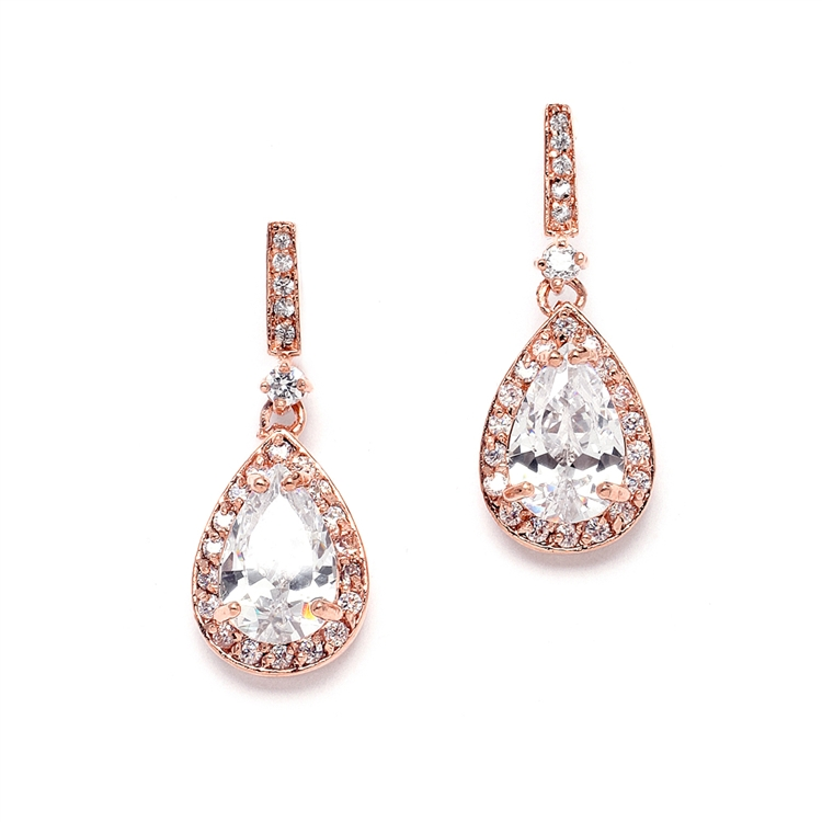 Rose Gold and Cubic Zirconia Bridal Earrings with Framed Pear Drops<br>4058E-RG