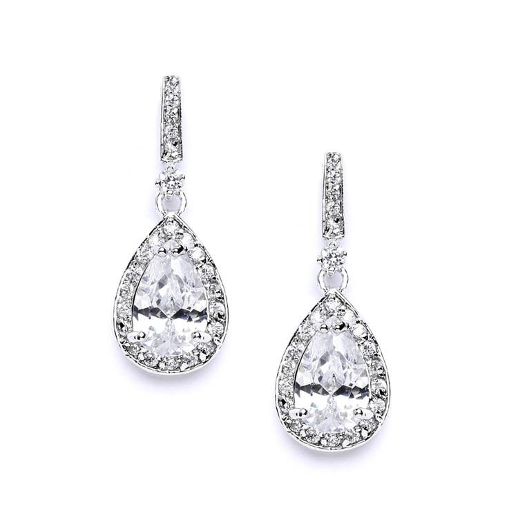 Classic Cubic Zirconia Bridal Earrings with Framed Pear Drops<br>4058E-S