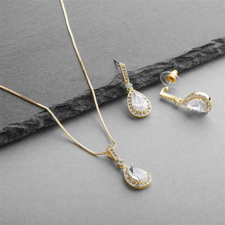 14K Gold CZ Pear-Shape Wedding Necklace & Earrings Set<br>4058S-G
