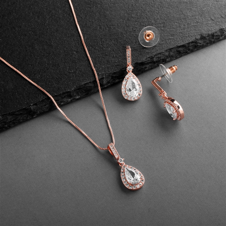 14K Rose Gold Plated CZ Pear-Shape Necklace & Earrings Set<br>4058S-RG