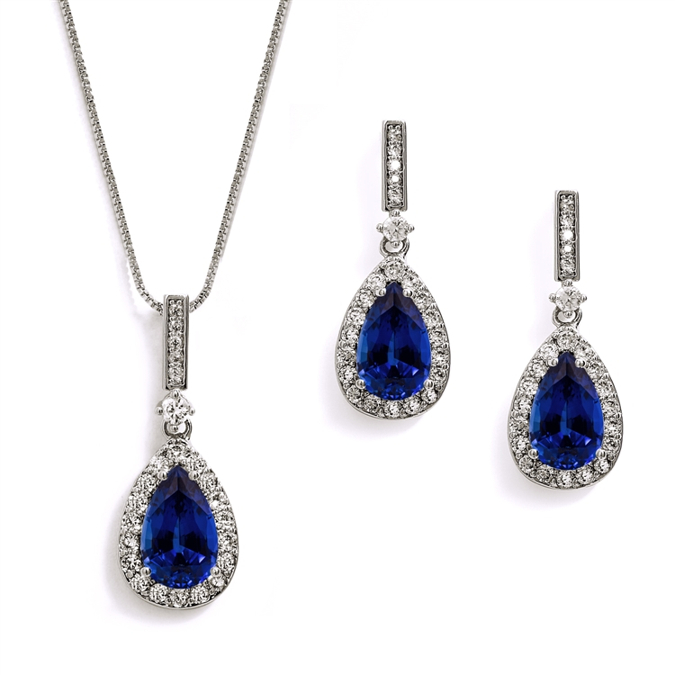 """Something Blue"" Sapphire CZ Pear Shaped Necklace and Earrings Set<br>4058S-SA"