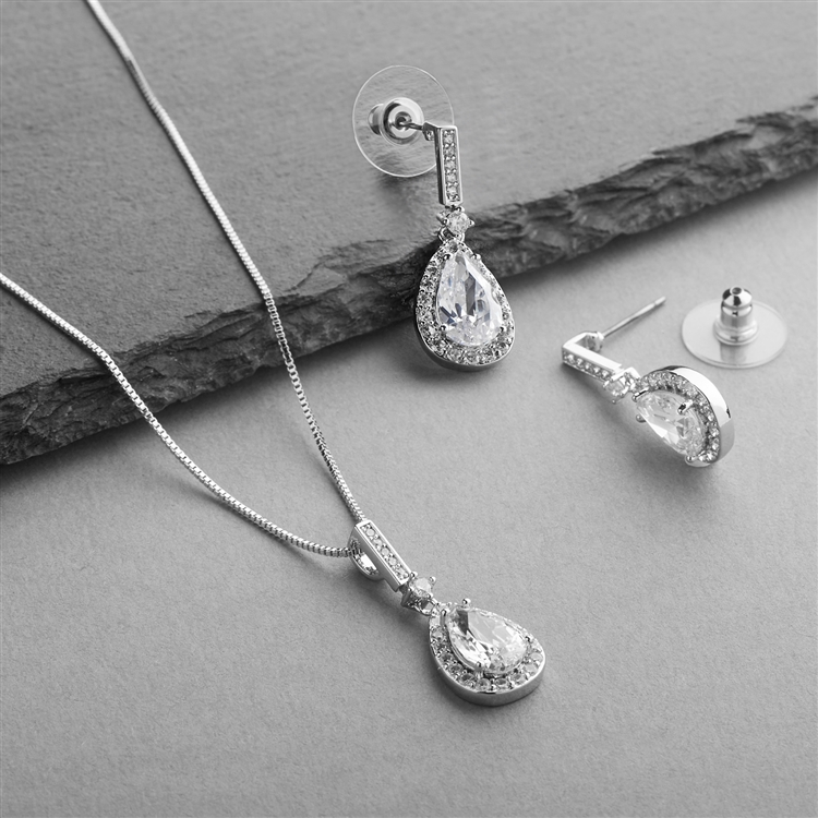 Silver Platinum CZ Pear-Shape Wedding Necklace & Earrings Set<br>4058S-SV