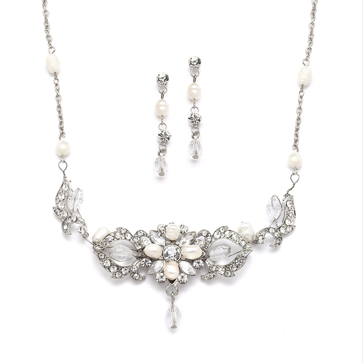 Top-Selling Freshwater Pearl & Crystal Wedding Necklace & Earrings Set<br>4060S