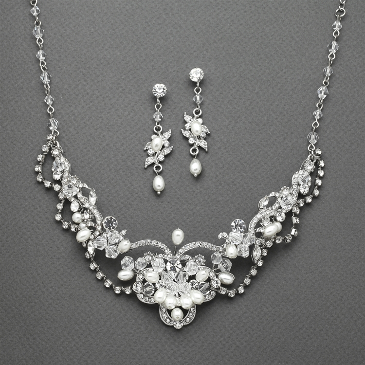 Freshwater Pearl & Crystal Wedding Necklace and Earrings Set<br>4061S
