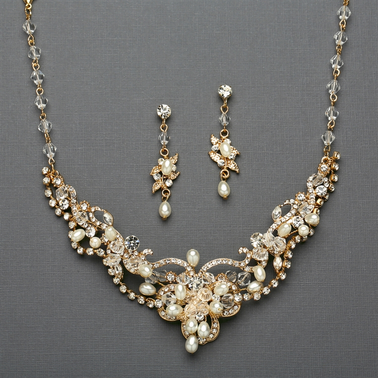 Ivory Freshwater Pearl & Crystal Gold Wedding Necklace and Earrings Set<br>4061S-I-G