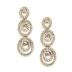Concentric Ovals Gold Wedding or Prom Earrings with Cubic Zirconia<br>4066E-G