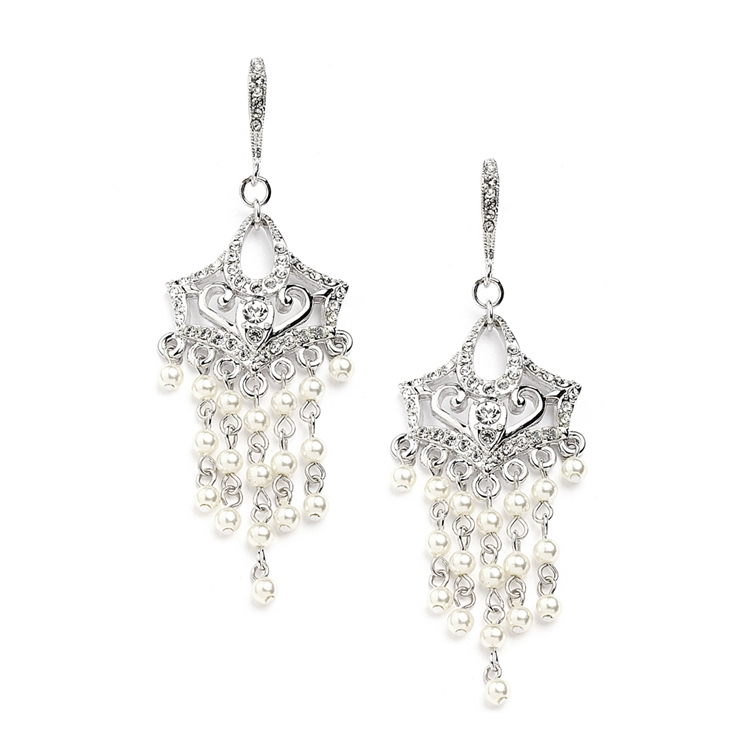 Vintage Pearl Chandelier Wedding Earrings with Cubic Zirconia Encrusted French Wires<br>4067E