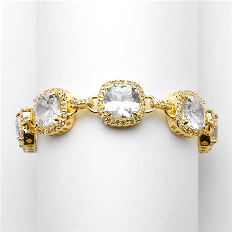 "Magnificent Gold 7"" Popular Length Cushion-Cut CZ Bracelet<br>4069B-G-7"