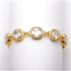 "Plus Size 8"" Magnificent Cushion Cut CZ Gold Bridal Bracelet<br>4069B-G-8"